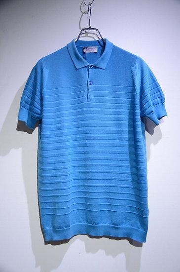 John Smedley Cotton Knit Polo ZUBER Blue ジョンスメドレー シーアイランドコットン ボーダーポロシャツ