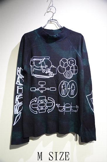 Haik w/ mock turtle Tie-dye Print Knit GRN Made in lithuania ハイク モックネック プリントニット