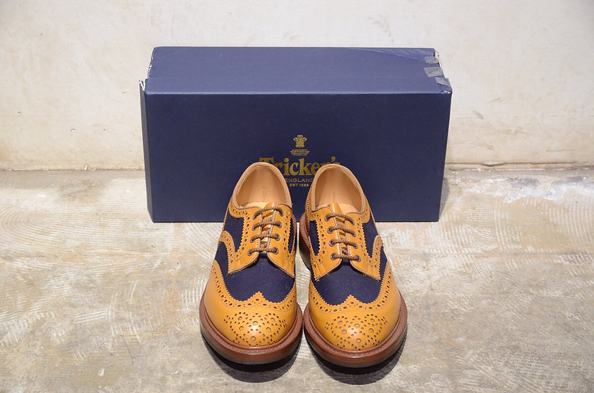 Tricker's Bowood Two Tone Brouge Shoes Yellow Made in England トリッカーズ コンビ シューズ
