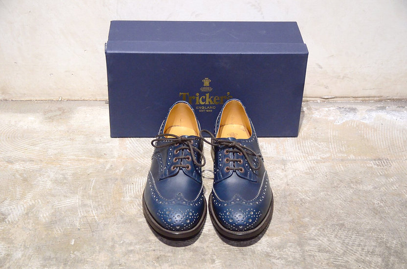 Tricker's Bourton Parisian Blue Derby Brogue Made in England トリッカーズ ネイビー