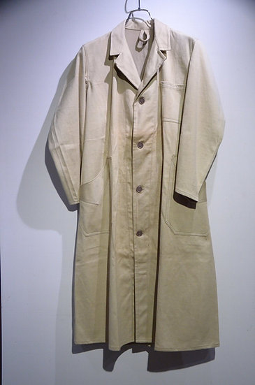 DEADSTOCK 50~60s Vintage French Work Linen Cotton Long Coat フレンチ リネンコットン ワークコート
