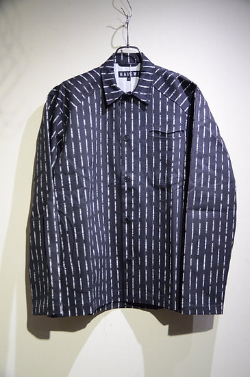 HAiK w/ Text Pinstripe Workman Shirts Jacket made in Lithuania ハイクウィズアス シャツジャケット