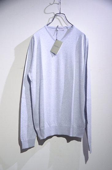 John Smedley Aydon Long Sleeve Vneck Cotton Knit LGY Made in UK ジョンスメドレー Vネックニット