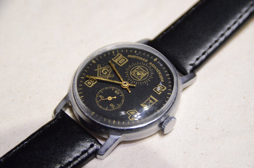 60s~ Vintage Masonic Wrist Watch Black Dial A Made in USSR  フリーメイソン 腕時計 ソビエト製