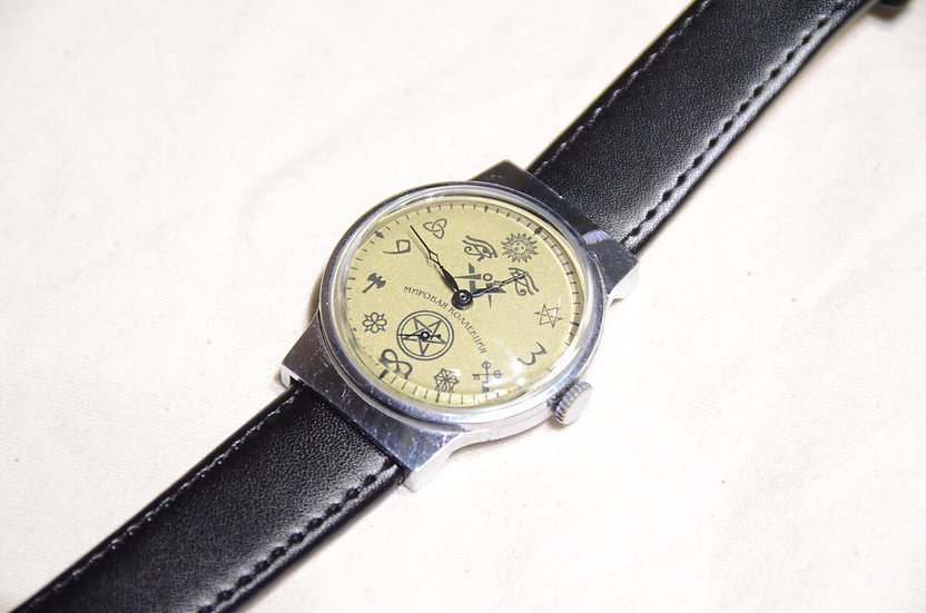 60s~ Vintage Masonic Wrist Watch White Dial B Made in USSR  フリーメイソン 腕時計 ソビエト製