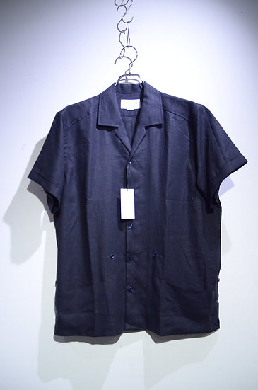 Tripl Stitched Cuban Shirt Black Linen Made in London トリプルステッチ キューバ リネンシャツ