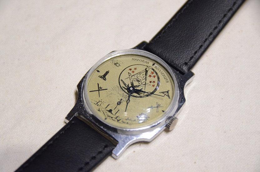 60s~ Vintage Masonic Wrist Watch White Dial C Made in USSR  フリーメイソン 腕時計 ソビエト製