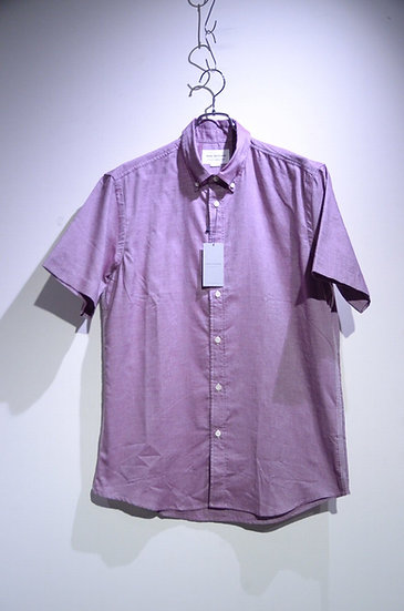 Tripl Stitched Short Sleeve Oxford Burgundy Shirt Made in London トリプルステッチ 半袖シャツ