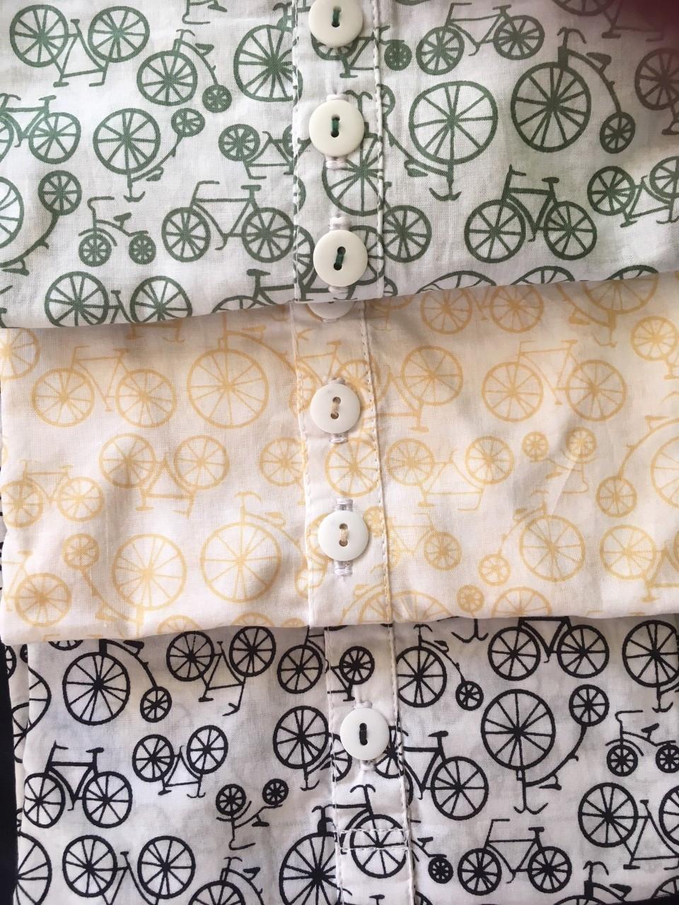Bike print long sleeve light cotton tops