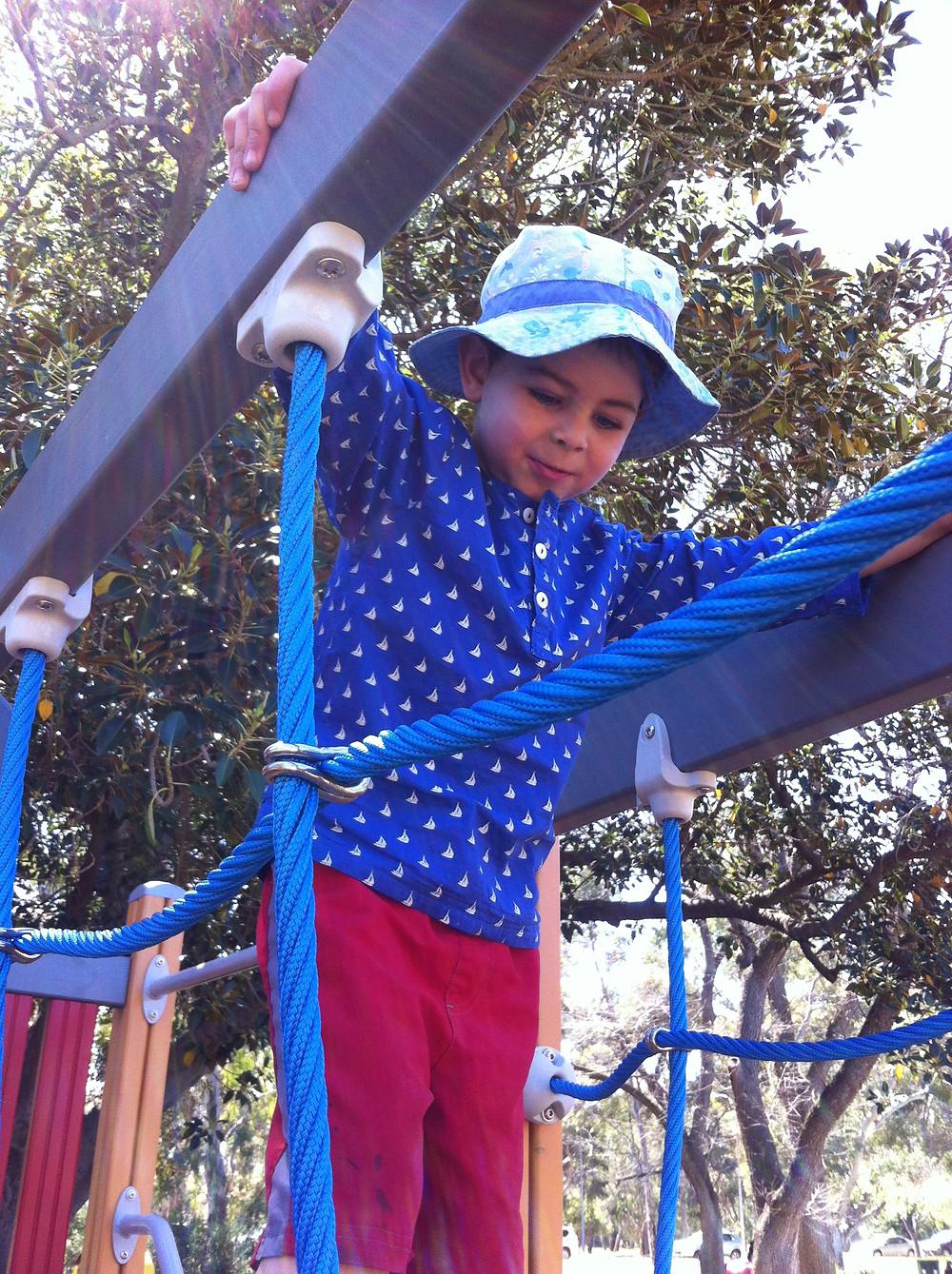 Long sleeve cotton top Australian Design Sailboat blue background