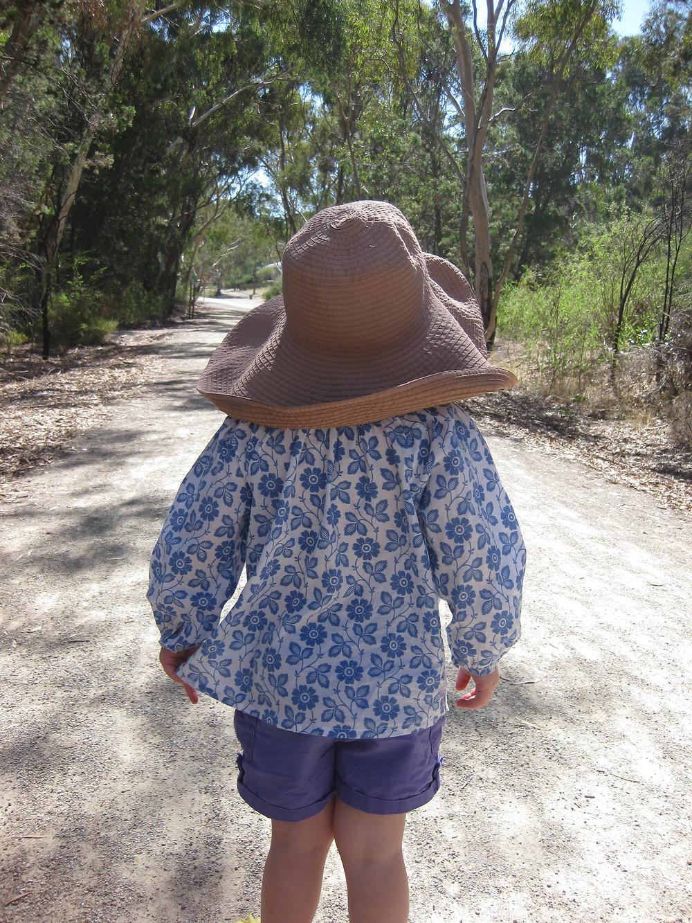 Summer kids top Breezy Blue Garden print long sleeve cotton