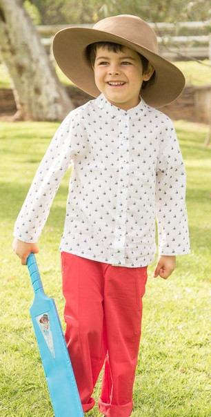 Long sleeve top and pants in cool, lightweight cotton