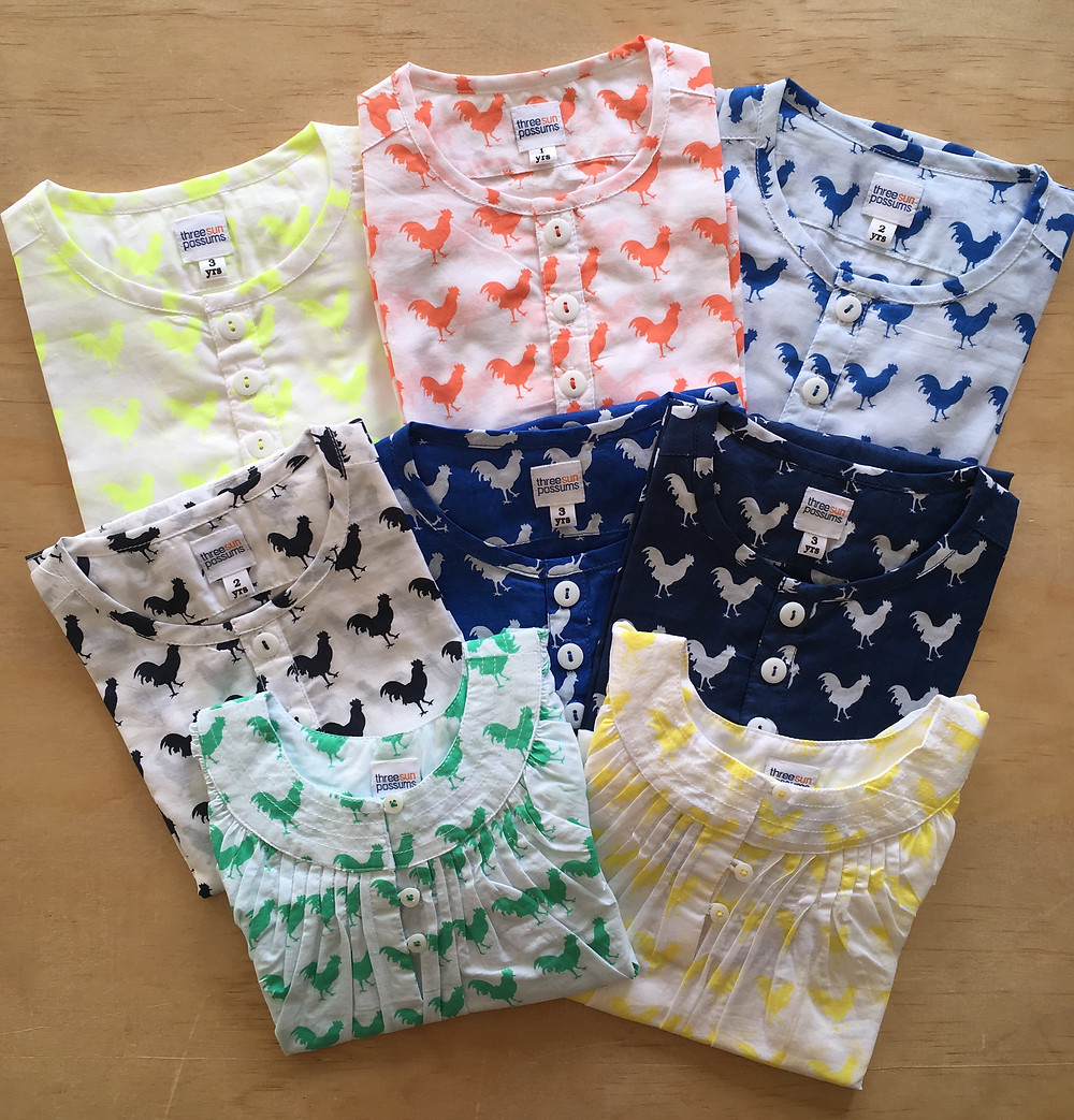 Range of boys and girls long sleeve lightweight cotton tops with rooster print range of colours
