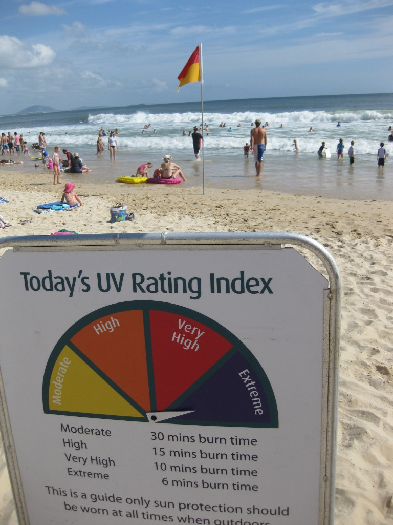 UV rating sign at beach sunsmart