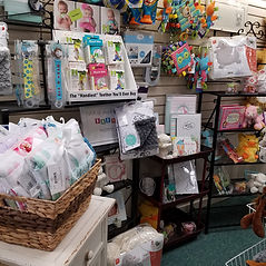 Photo of wide array of baby gift items that we carry