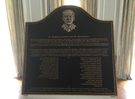 "Plaque recalls ""Father of the UN genocide convention"" Dr. Raphael Lemkin"