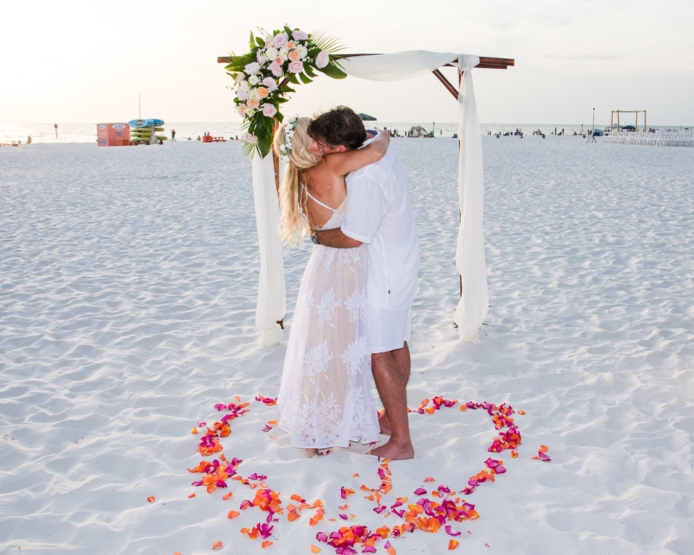 Bride with Flower Crown and Groom