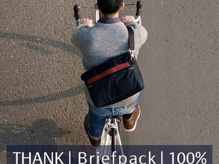 Briefpack 雙面變形包 專案100%達標正式啟動!讓我們一起繼續加油!