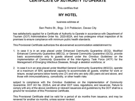 MY HOTEL IS AUTHORISED TO OPERATE BY THE DEPARTMENT OF TOURISM (DOT) DURING THE COMMUNITY QUARANTINE