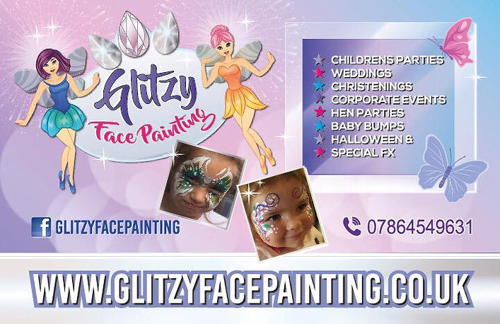 Glitzy Facepainting business card