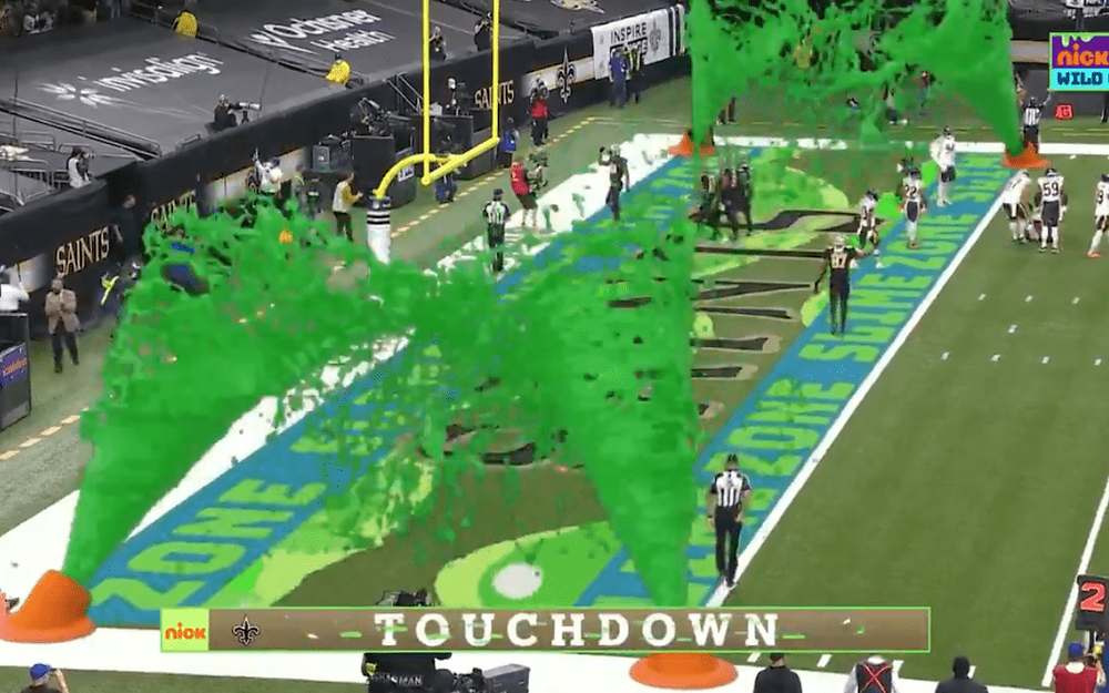 superimposed virtual slime zone nickelodeon and NFL broadcast collaboration