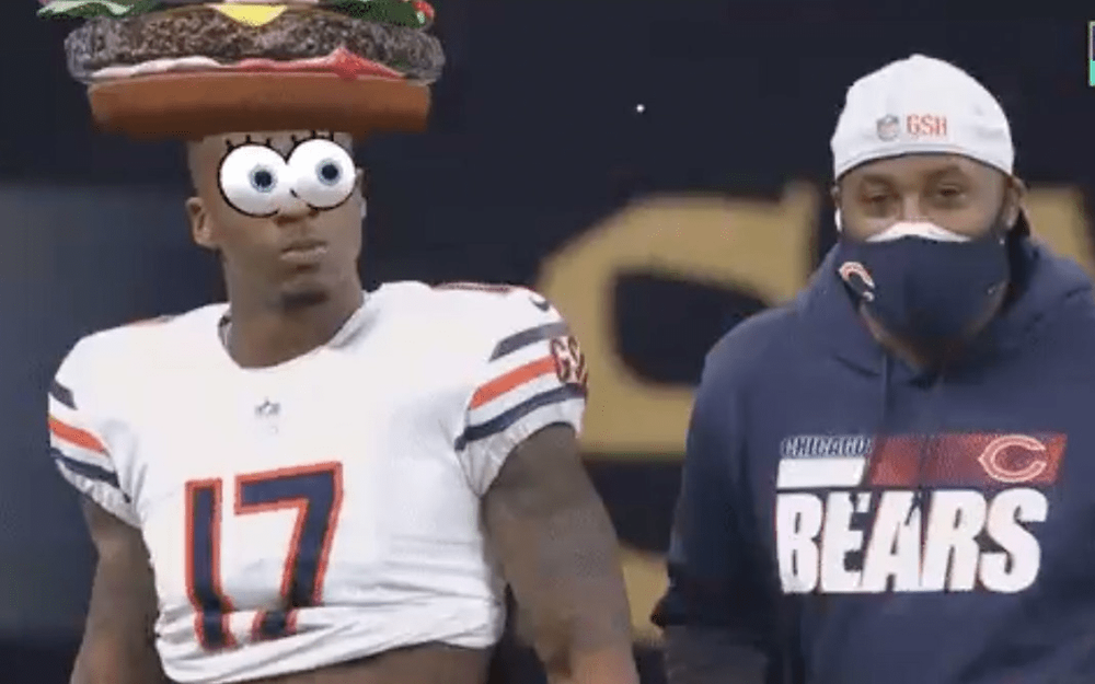 googly eyes in nickelodeon and NFL broadcast game new orleans and chicago bears