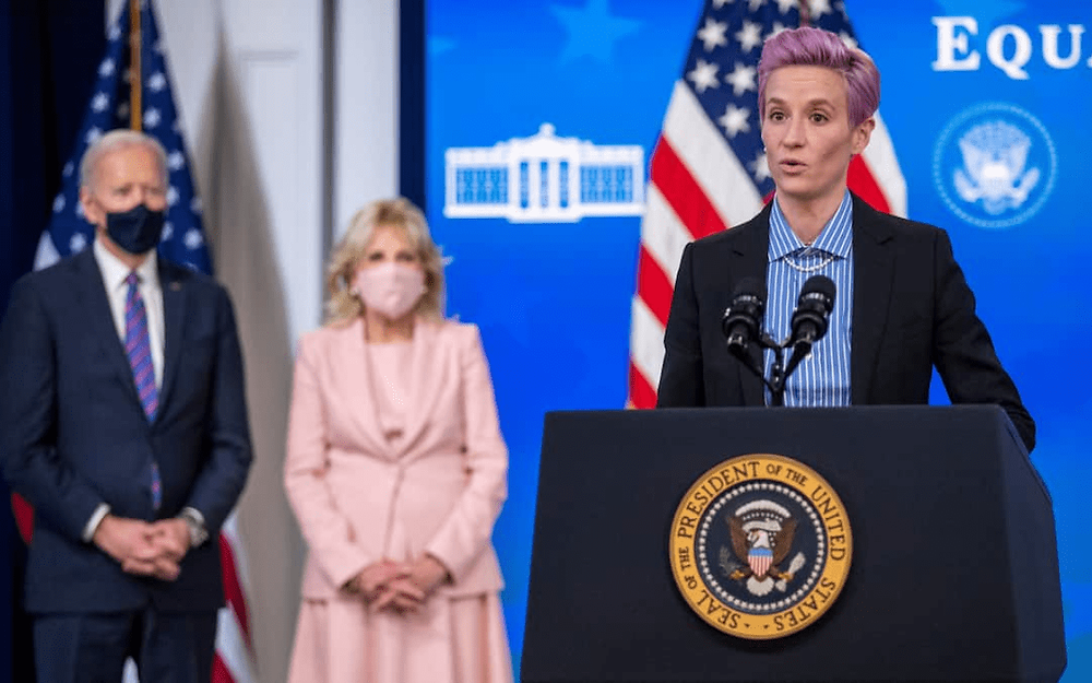 US soccer star Megan Rapinoe repeats call for gender pay equity