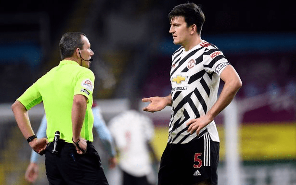 calls for referee welfare to be considered by FA harry maguire kevin friend covid-19 manchester united burnley