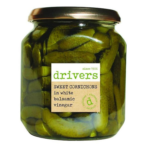 Drivers Cornichons in White Balsamic Vinegar (550g)