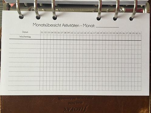 Aktivitäten Monatsübersicht Tracker Personal