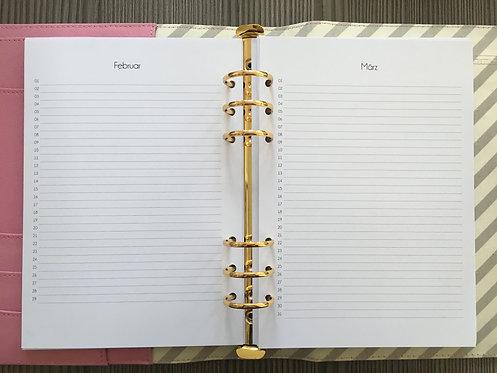 1 Monat auf 1 Seite vertikal A5