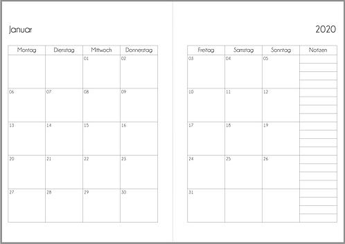 Datei: Monat auf 2 Seiten A5 2021