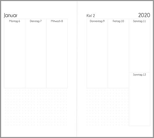 Datei: Woche auf 2 Seiten vertikal mit Kästchen Personal