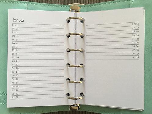 Monat auf 2 Seiten vertikal Pocket