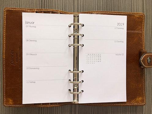 Woche auf 2 Seiten mit mehr Notizen + Monatsübersicht Personal