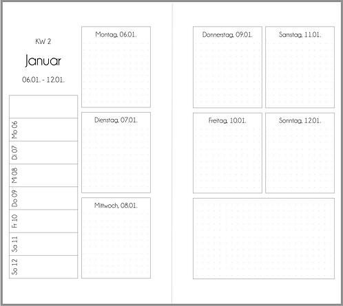 Datei: Woche auf 2 Seiten Quadrate Personal
