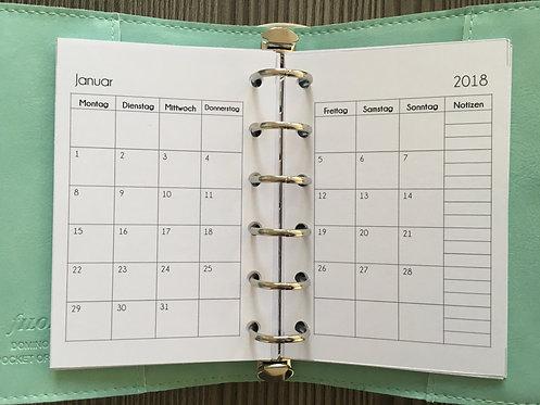 Monat auf 2 Seiten Pocket