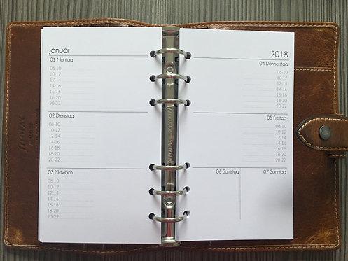 Woche auf 2 Seiten mit Uhrzeiten Personal