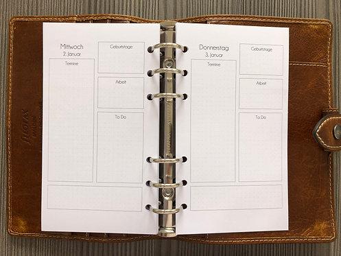 1 Tag pro Seite Quadrate Personal