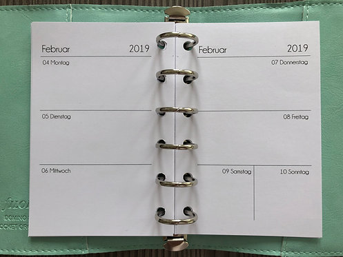 Woche auf 2 Seiten ohne Notizen Pocket