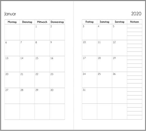 Datei: Monat auf 2 Seiten Personal 2021