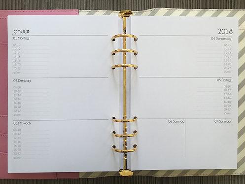 Woche auf 2 Seiten mit Uhrzeiten A5