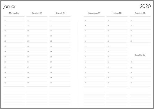 Datei: Woche auf 2 Seiten vertikal mit Notizen A5 2021 / 2022