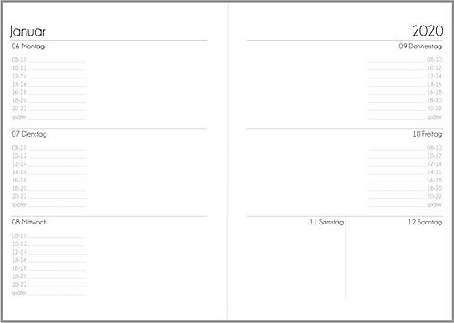 Datei: Woche auf 2 Seiten mit Uhrzeiten A5 2021