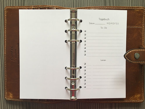 Tagebuchseite Personal