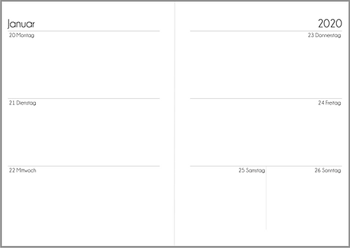 Datei: Woche auf 2 Seiten ohne Notizen A5 2021