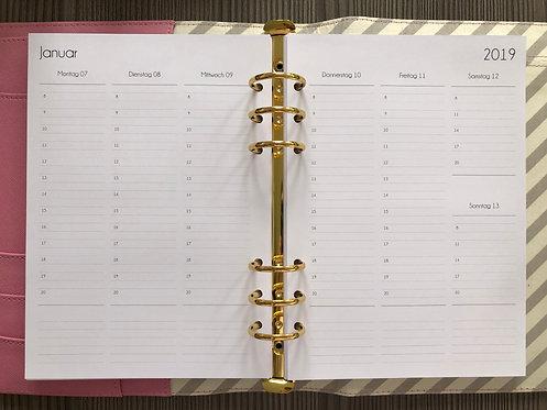Woche auf 2 Seiten vertikal mit Notizen A5