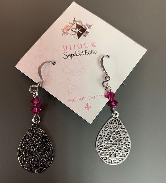 Boucles d'oreilles argent et pierre rose