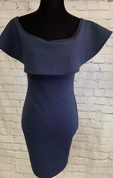 Magnifique robe bleue fermeture éclair au dos S
