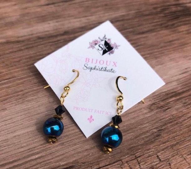 Boucles d'oreilles bleu Metallic
